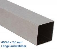 VA Vierkantrohr 40x40x2,0 mm geschliffen - Länge wählbar