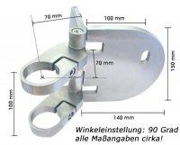 verstellbare Wandhalterung für Pfostenrohr 42,4 mm