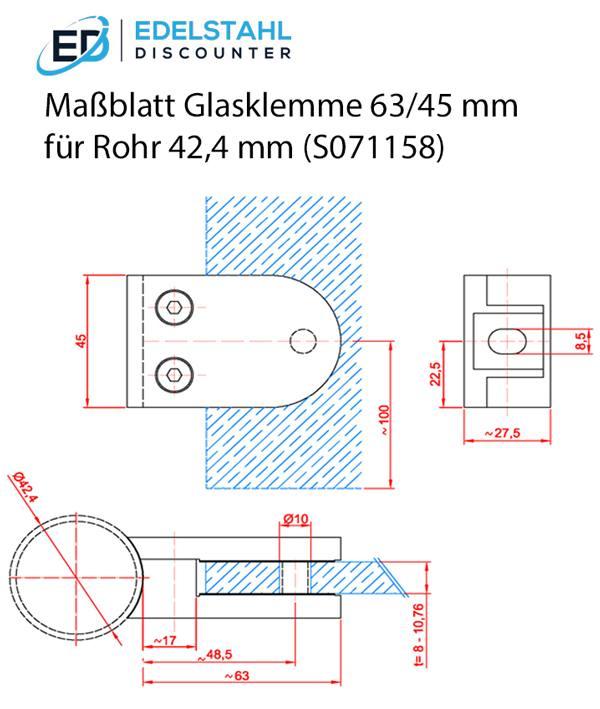 V2A Glashalter 63//45 mm für Rohr 42,4 mm